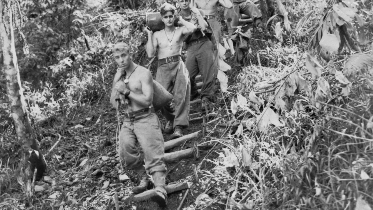 The terrain around Tambu was murderous, steep and muddy.