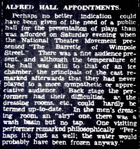 Post theatre review of the first National Theatre performance in Ballarat. Note the comments about the need for a better hall. The Ballarat Courier, June 20, 1938.